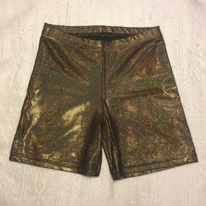 American Apparel Metallic Biker Shorts Gold